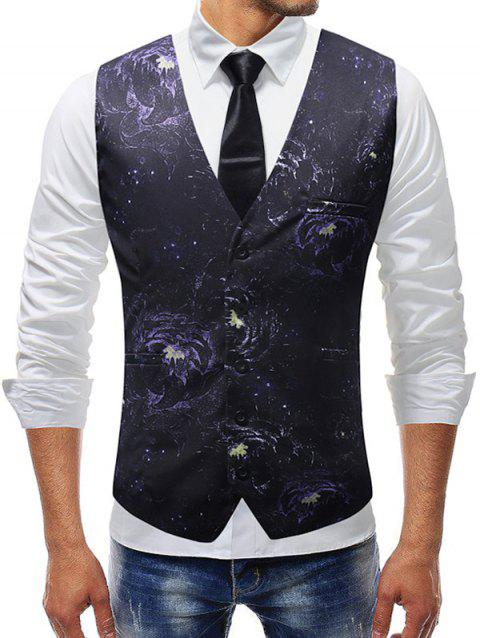 Single-breasted Floral Print Waistcoat - BLACK L