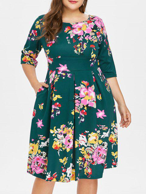 Plus Size Fit and Flare Print Dress - DEEP GREEN 3X