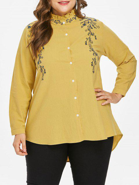 Plus Size Embroidered Mock Neck Blouse - YELLOW 2X