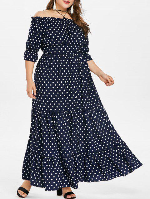 Plus Size Polka Dot Floor Length Dress - MIDNIGHT BLUE 2X