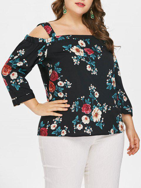 Plus Size Floral Cut Out Shoulder Blouse - BLACK 2X