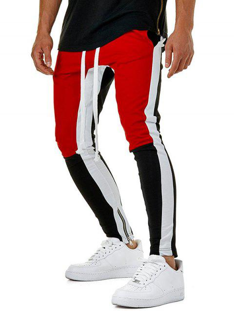 Hem Zipper Colorblock Track Pants - RED XL