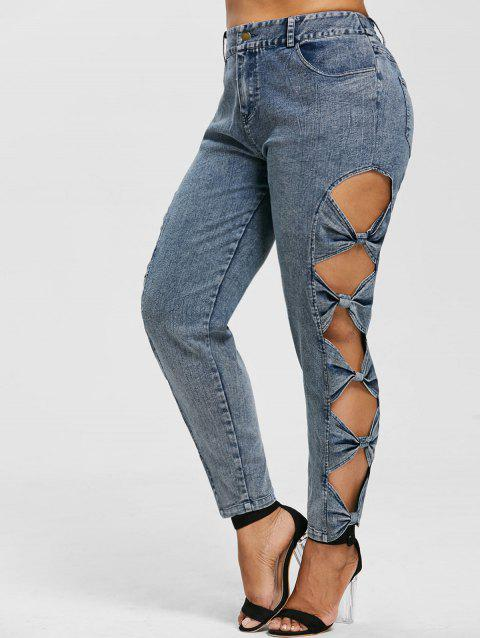 Plus Size Cutout Sides High Rise Jeans - JEANS BLUE 1X