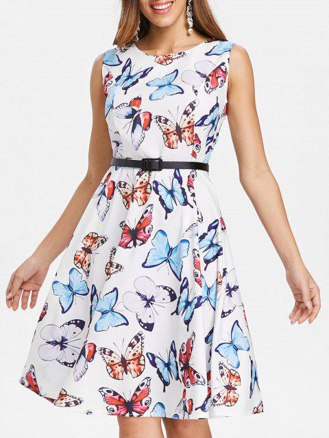 Fit and Flare Butterfly Pattern Dress - WHITE L
