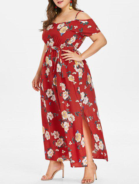 Plus Size Cold Shoulder Flower Maxi Dress - RED L