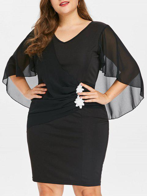 Plus Size Applique Ruched Capelet Dress - BLACK 3X