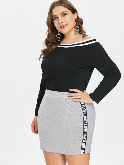 Plus Size Off Shoulder Tee and Skirt - BLACK L