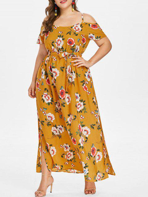 Plus Size Cold Shoulder Flower Maxi Dress - BEE YELLOW 2X