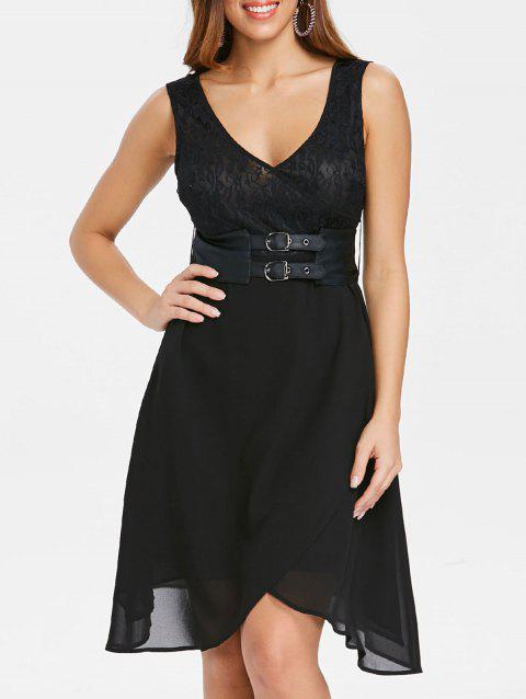 V Neck Faux Wrap Dress with Waistband - BLACK M