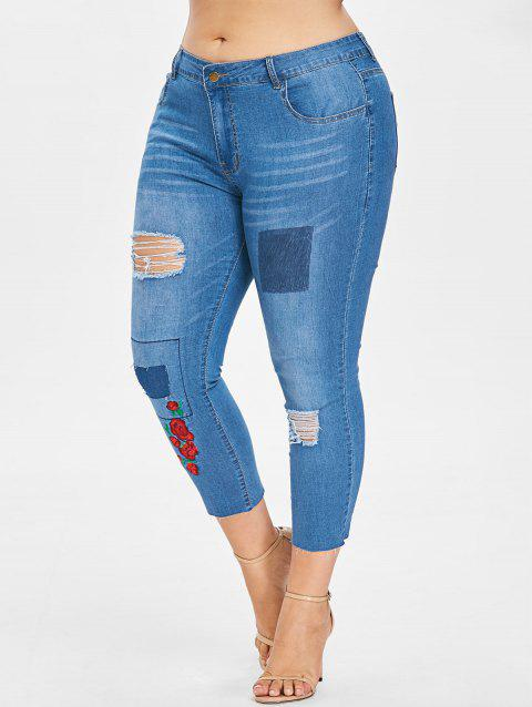 Plus Size Embroidered Ripped Cropped Jeans - DENIM BLUE L