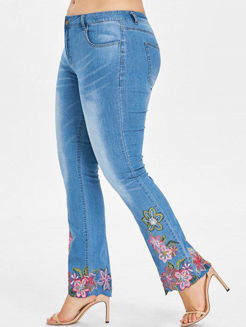 Plus Size Embroidered Hem Jeans - JEANS BLUE L