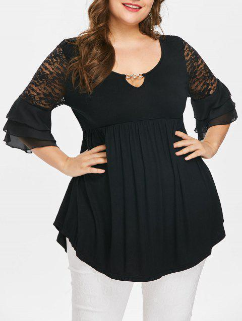 Plus Size Flare Sleeve Lace Insert Peplum Blouse - BLACK 1X