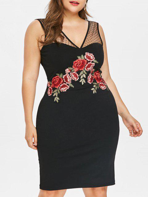 Plus Size Embroidered Bodycon Dress - BLACK 2X