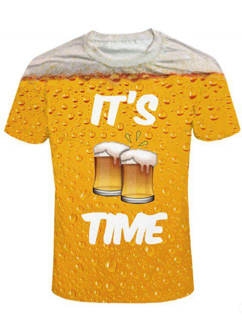 Short Sleeve Beer Print Graphic Tee - ORANGE GOLD XL