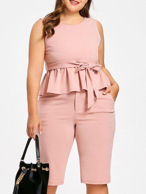 Plus Size Sleeveless Peplum Top with Straight Shorts - LIGHT PINK 3XL