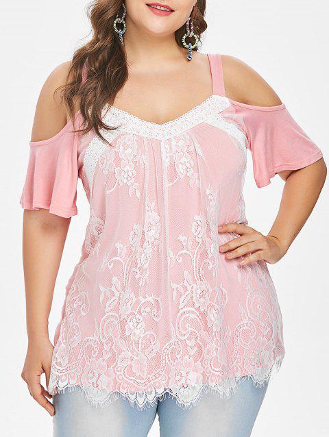 ee03d3095a3 LIMITED OFFER  2019 Plus Size Lace Trim Open Shoulder Top In LIGHT ...