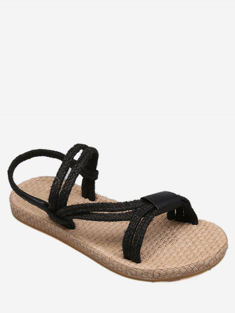 Leisure Vacation Beach Espadrille Slingback Sandals - BLACK 38