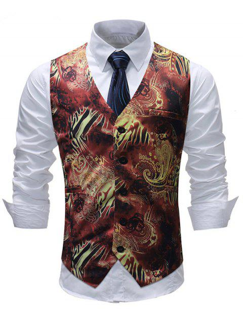 Filigree Print Single Breasted V Neck Waistcoat - BLACK XL