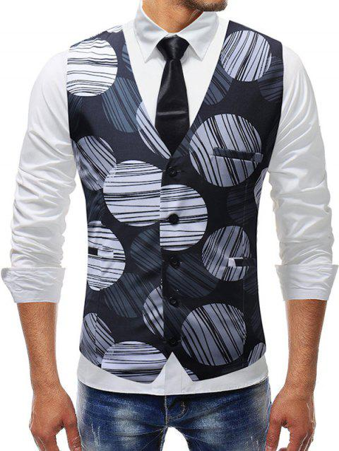 Casual Line Circle Print Vest - BLACK 3XL