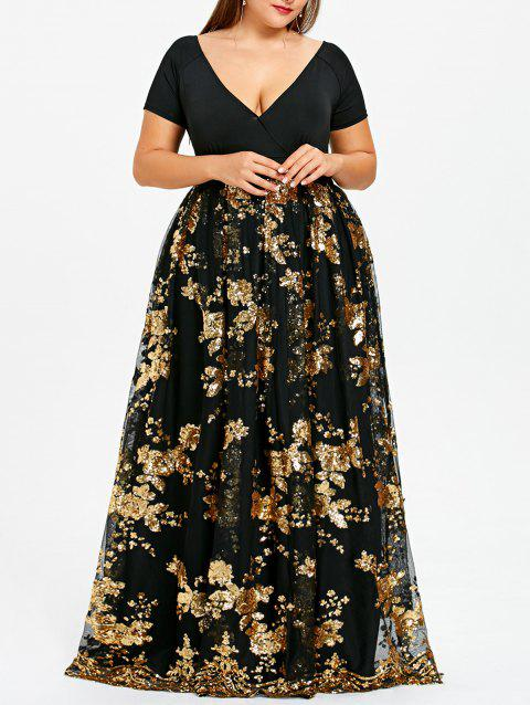 Plus Size Sequined Floral Maxi Formal Dress - GOLD 3XL