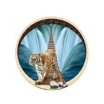 Waterfall Tiger Pattern Round Area Rug - BLUE 120 CM (ROUND)