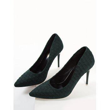 Pointed Toe High Heel Embossing Prom Pumps - GREEN 35