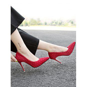 Pointed Toe High Heel Embossing Prom Pumps - FIRE ENGINE RED 39