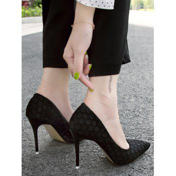 Pointed Toe High Heel Embossing Prom Pumps - BLACK 36