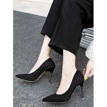 Pointed Toe High Heel Embossing Prom Pumps - BLACK 39