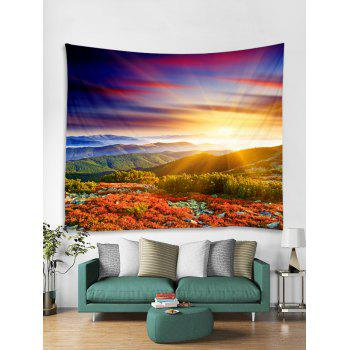 Sunlight Mountains Flowers Scerery Printed Wall Art Tapestry - multicolor W71 INCH * L71 INCH