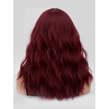 Middle Part Long Natural Wavy Party Synthetic Wig - RED WINE