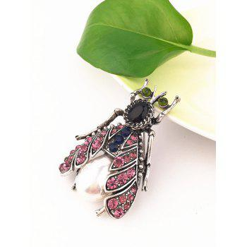 Stylish Colored Rhinestone Alloy Insect Brooch - PINK ROSE