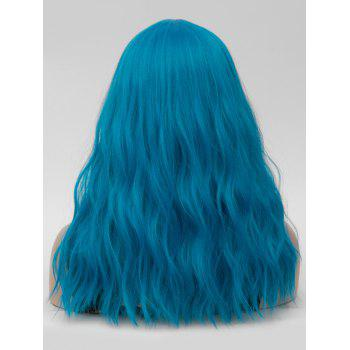 Long Center Parting Natural Wavy Cosplay Party Synthetic Wig - BLUE