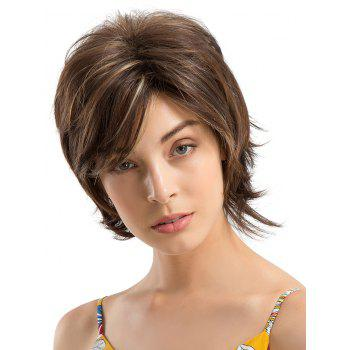 Short Side Fringe Colormix Straight Capless Human Hair Wig - multicolor