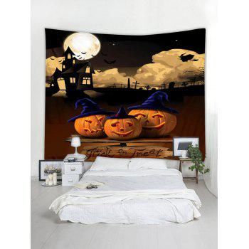 Halloween Night Pumpkins Pattern Wall Art Tapestry - multicolor W91 INCH * L71 INCH