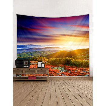 Sunlight Mountains Flowers Scerery Printed Wall Art Tapestry - multicolor W79 INCH * L71 INCH