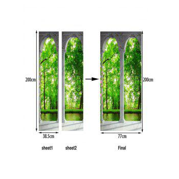 Forest Scenery Printed Home Decor Door Stickers - GREEN APPLE 38.5*200CM*2PCS
