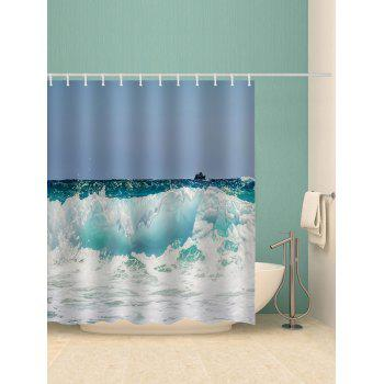 Rough Sea Print Waterproof Shower Curtain