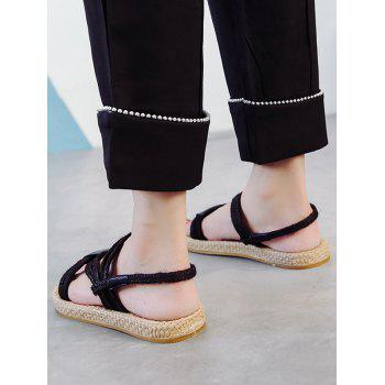 Leisure Vacation Beach Espadrille Slingback Sandals - BLACK 36