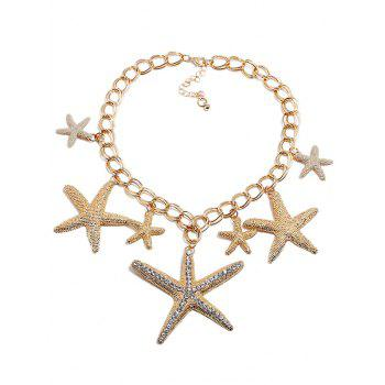 Rhinestone Starfishes Pendant Chain Necklace - GOLD