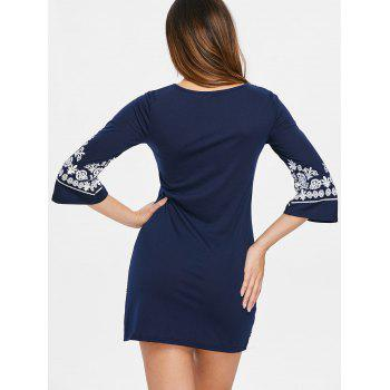 Ethnic Print Mini Dress - CADETBLUE L