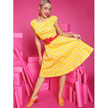 Retro Polka Dot Flare Dress - YELLOW M