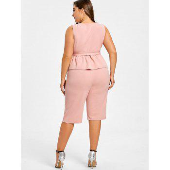 Plus Size Sleeveless Peplum Top with Straight Shorts - LIGHT PINK 2XL