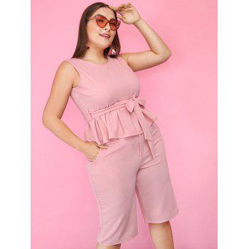 Plus Size Sleeveless Peplum Top with Straight Shorts - LIGHT PINK 4XL