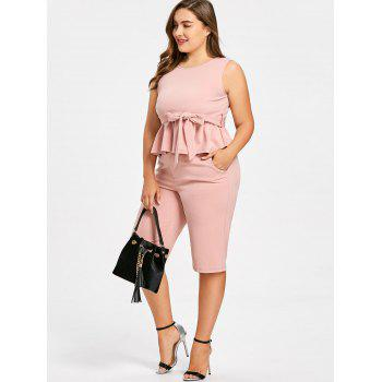 Plus Size Sleeveless Peplum Top with Straight Shorts - LIGHT PINK 5XL