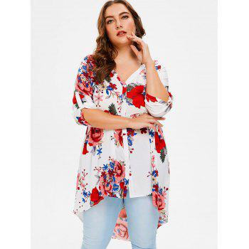 Plus Size Flowered High Low Shirt - WHITE 2X