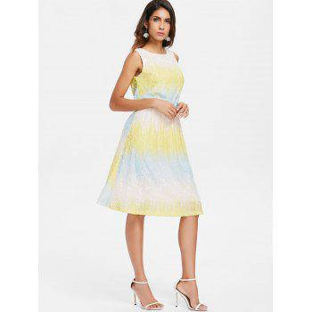 Ombre Sleeveless Glitter Blouson Dress - multicolor L
