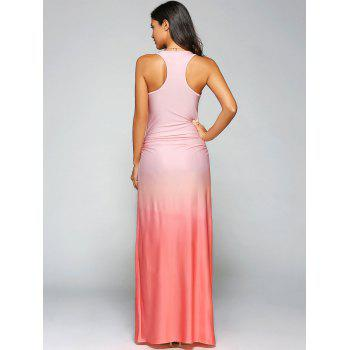 Ombre Sleeveless Racer Back Maxi Tank Dress - ORANGE RED S
