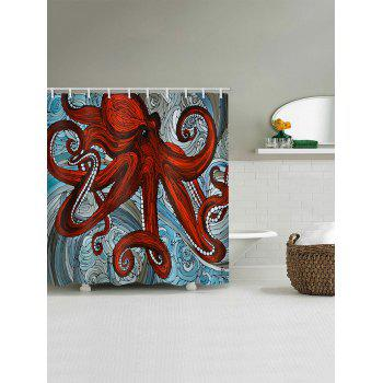 Ocean Waves Octopus Print Waterproof Shower Curtain - RED W59 INCH * L71 INCH