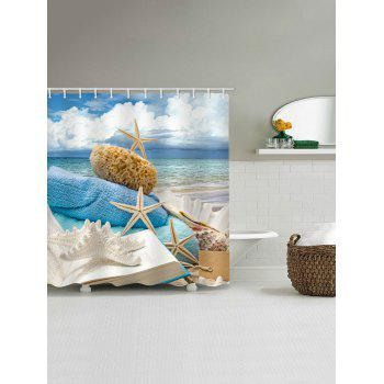 Beach Vacation Print Bathroom Shower Curtain - multicolor W71 INCH * L79 INCH